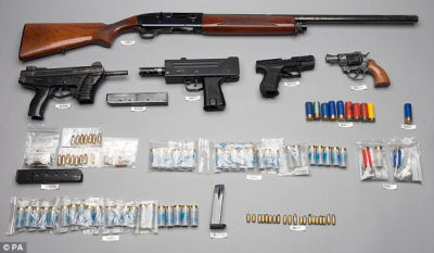 Canadian police claim these guns were smuggled over the border from the US