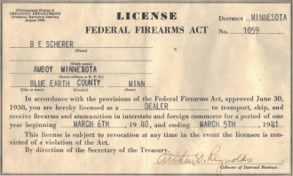 1941 Federal Firearms Act license